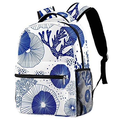Blue Corals and Algae Backpack for Teens School Book Bags Travel Casual Daypack