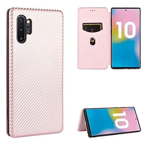 Miagon Galaxy Note 10 Plus Brieftasche Hülle mit Kohlefaser Textur,PU Leder Schutzhülle mit Kartenfach Handyhülle Tasche Etui Folio Flip Cover Case Tasche für Samsung Galaxy Note 10 Plus