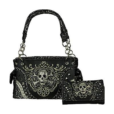 Rhinestone Skull Western Concealed Carry Handbag and wallet set (Black)