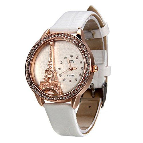 Blanco Reloj para Mujer La Torre Eiffel con Diamantes Reloj de Pulsera para Chica, Diseño Vintage Romantico Regalo para San Valentín -Avaner
