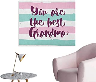 Anzhutwelve Grandma Home Decor Wall Hand Drawn Calligraphic Quote on a Pastel Colored Stripes Background The Office Poster Violet Seafoam Pale Pink W48 xL32