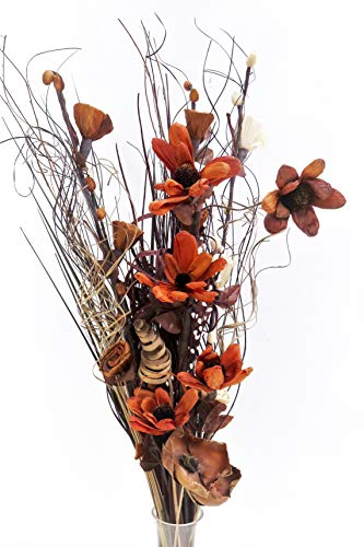 Bouquet di fiori artificiali ed essiccati, alto 85 cm, pronto per un vaso Chocolate & Cream