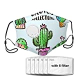 Diooe Watercolor Cactus Collections Set Safety Cotton Mouth Shield with Filters and Valves for Running,Cycling,Outdoor Sports