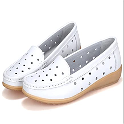 229a6b69c4 Luyomy Tracer-s Women's Slip On Leather Sneakers, Womens Handmade Flat  Round Sole Casual