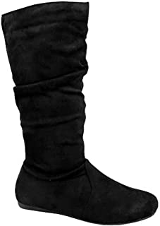 Womens Slouchy Boots Soft Flat to Low Heel Under Knee High
