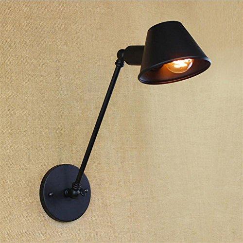 Beweegbare industriële wandlamp kantelbare arm wandlamp tafellamp (zwart)