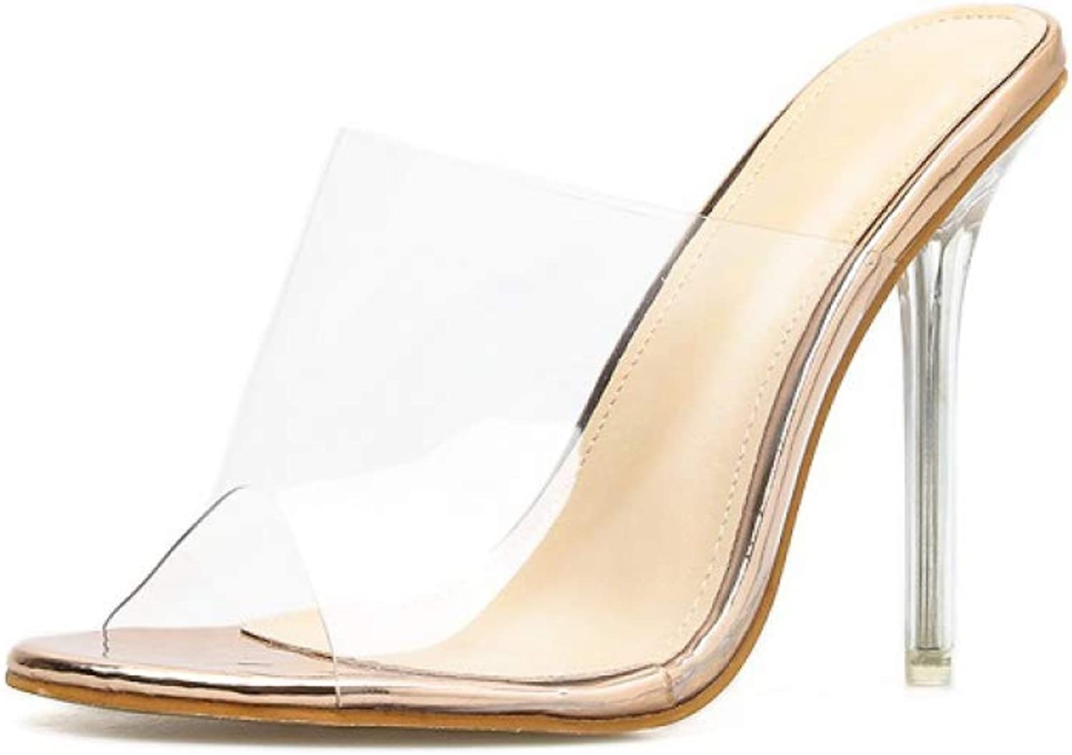 Paperane New PVC Jelly Sandals Crystal Open Toed Sexy Thin Heels Crystal Women Transparent Heel Sandals Slippers Pumps