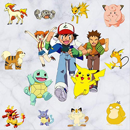 Muurstickers Muurstickers Pokemon Pokémon Pikachu Cartoon Kinderslaapkamer Wallpaper Leuke Reizen Koffer Stickers