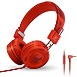 Yomuse C89 On Ear Foldable Headphones with Microphone, Adjustable Headband for Kids Adults, iPhone iPad iPod Computers Tablets Smartphones DVD, Camo Red