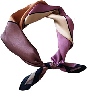 Happy-L Women's Elegant New Square Scarf Neck Shawl Silk Scarf Color Matching Scarf Decorative Hair Band (Color : 01)