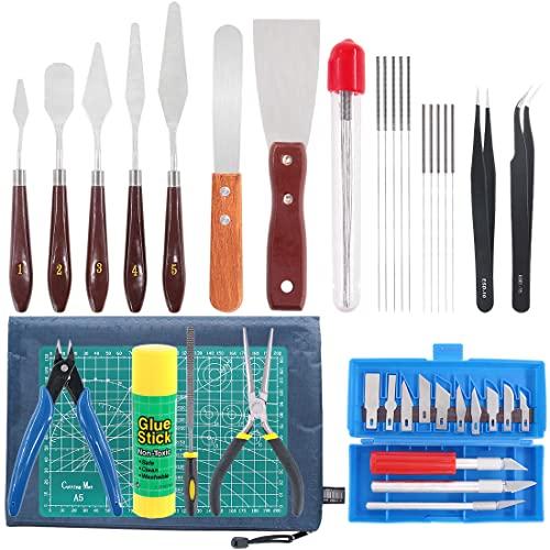 Rustark Kit de herramientas de 40 piezas para impresoras 3D, espátulas, pinzas, archivos, agujas, alfombrilla de corte y más herramientas de impresión 3D para eliminar, limpiar, terminar impresoras 3D