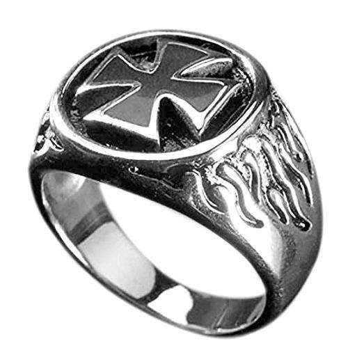 Edelstahl-Ring Black Iron Cross, Eisernes Kreuz, Siegelring, Biker (65 (20.7))