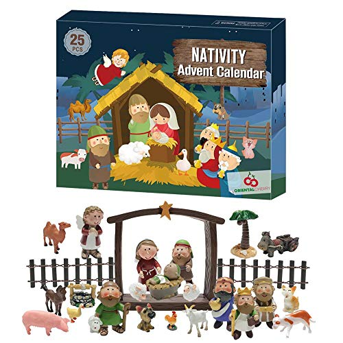 ORIENTAL CHERRY Advent Calendar 2020-25 Days of Christmas Nativity Scene Set - Countdown to for Kids Boys Girls Children Toddler Teens Indoor Toy
