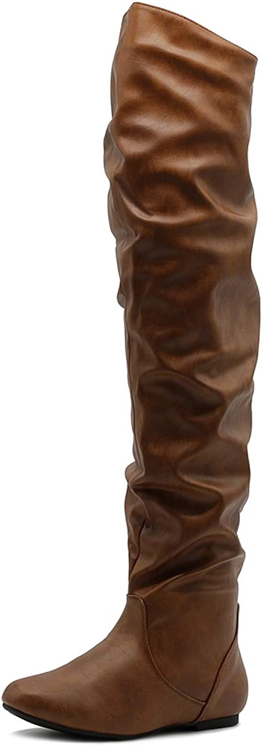 Ollio Women's shoes Stretch Faux Suede Faux Leather Over The Knee Flat Wrinkle Long Boots