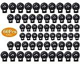 Wandefol 60 Pezzi Serrature a Molla, Fermacorda gomma nera fermacorda per funi a molla, cursore a molla per Lacc Doppi Fori in Plastica Nera estremità Cavo Fissaggio Ovale Levetta di Fermo (3 Taglie)