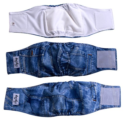 JoyDaog Jean Belly Bands for Small Dog Diapers Reusable Male Puppy Wrap S,Pack of 3