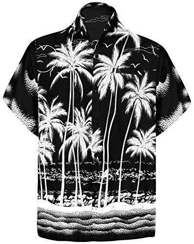 LA LEELA männer Hawaiihemd Kurzarm Button Down Kragen Fronttasche Beach Strand Hemd Manner Urlaub, M, Schwarz_w452