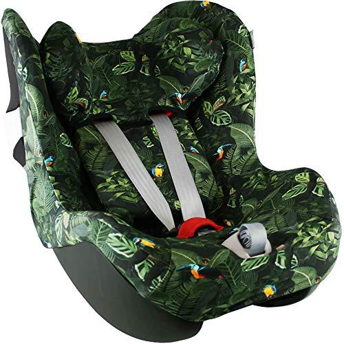 Housse Siege Auto Bebe Pour Coque Cybex Sirona M2 (I-Size) et Sirona S (I-Size) Accessoire Enfant Indispensable pour plus de Confort Coton Oeko-Tex Certifié Vert Jungle