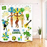 N / A Hochwertige Brasilien Karneval Duschvorhang Badezimmer Bad Polyester Stoff-B120cmxH200cm