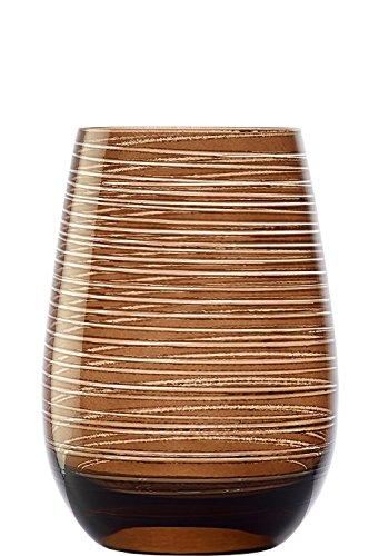 Stölzle Lausitz Twister Becher in braun, 465 ml, 6er Set Gläser, spülmaschinenfest, Bunte Trinkbecher, hochwertige Qualität