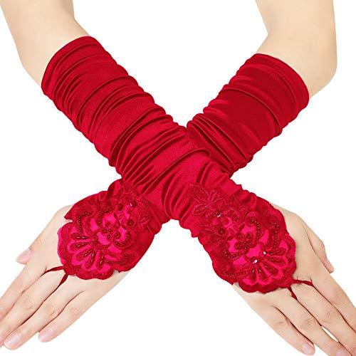 Coucoland Damen Kurze Satin 1920s Handschuhe Dekoriert mit Spitzen und Strass Gotische Halbhandschuhe für Opera Fest Retro Hochzeit Damen Fasching Kostüm Accessoires (38 cm/Rot)