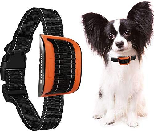 MASBRILL Collar Antiladridos para Perros Pequeños y Grandes Collar Adiestramiento, Anti ladridos Dispositivo con Sonido y Vibracione 7 Niveles de Sensibilidad Ajustables - Naranja
