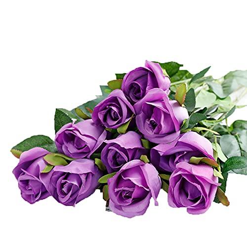 Kunstblumen Künstliche Blumen 10 stücke Gefälschte Rosen Wohnzimmer Möbel Valentinstag Blume Arrangements Arrangements Party Dusche Hochzeitsblumensträuße Künstliche Blumensträuße ( Color : Purple )