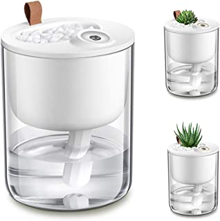 DCMEKA Desk Humidifier, [Newest Updated Version] USB Cool Mist Humidifier, Quiet Ultrasonic Mini Humidifier for Bedroom Home Baby Office , Timed Auto Shut-Off, 4 Cotton Sticks Included(320ml 50ml/h)