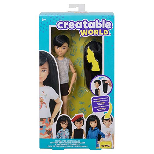 Creatable World, Basic Character Kit, Black-Hair Doll with Brown Eyes, Long-Hair Wig, Removable Tank and Shorts, Creative Play for All Kids 6 Years Old and Up