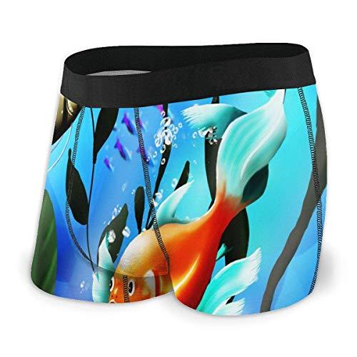 FengLiuAiShuaiGe Gran Regalo Calzoncillos Tipo bóxer para Hombre Vector Peces de Acuario Algas Azul Pierna Corta Ropa Interior Transpirable Troncos Hombres Niños-XX-Large,