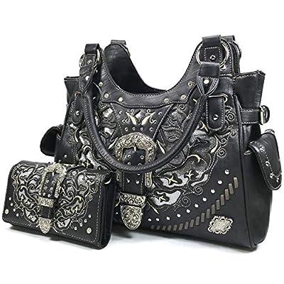 Zelris Women Tote Handbag Wallet Set Western Gleaming Buckle Floral Cowgirl Concealed Carry Purse (Black)