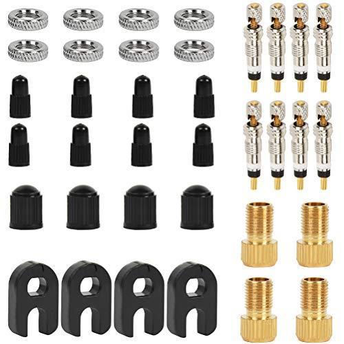 'N/A' 18 Piezas de Núcleos de Válvula Presta,Válvula Francesa Casquillos de Válvula para Bicicletas,Adaptador de Válvula Convertidor de Válvula de Cobre,Tapa de Válvula para Bicicleta
