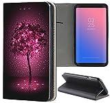 Samsung Galaxy S6 Hülle Premium Smart Einseitig Flipcover Hülle Samsung S6 Flip Case Handyhülle Samsung S6 Motiv (1237 Baum Abstract Lila Schwarz)