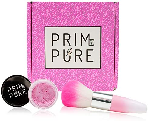 Prim and Pure Natural Mineral Blush Loose Shimmery Cheek Color Pink Makeup Brush Gift Set Non product image