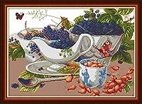 Joy Sunday クロスステッチキット 14CTスタンプ刺繍キット 正確なプリント針仕事 - ワイルドフルーツ 54×41cm
