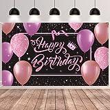 GRESATEK Pink Lila Hintergrund Geburtstagsdeko, Happy