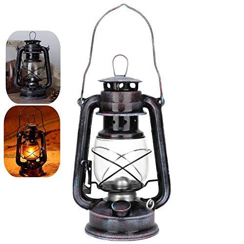 Retro Laterne Petroleumlampe, Gemütliche Gartenlaterne mit Einstellbarer Dochthöhe Sturmlaterne 24cm Kreative Ornamente Wandleuchte für drinnen und draußen Barbecue Camping Nachtlicht