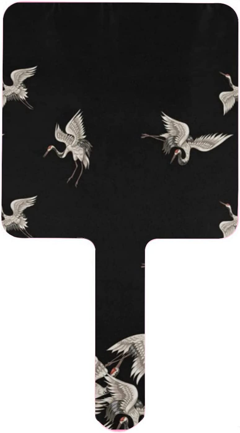 Sale SALE% OFF Hand Mirror Stylish Super special price Japanese Handheld Flying White Cranes