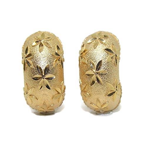 Pendientes de oro amarillo de 18Ktes concha. cierre omega Never say never