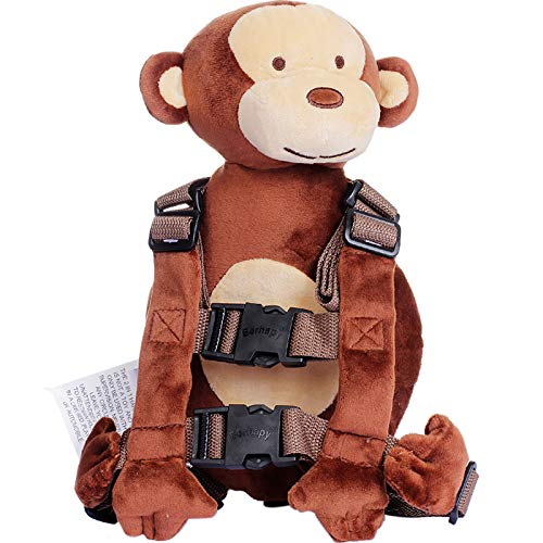 Berhapy 2 in 1 New Monkey Toddler Safety Harness Backpack Children's Walking Leash Strap(Brown)
