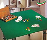 Mantel protector de mesa con muletón de póquer, paño de juego, color verde, fabricado en Italia, cuadrado, tamaño 135 x 135 cm