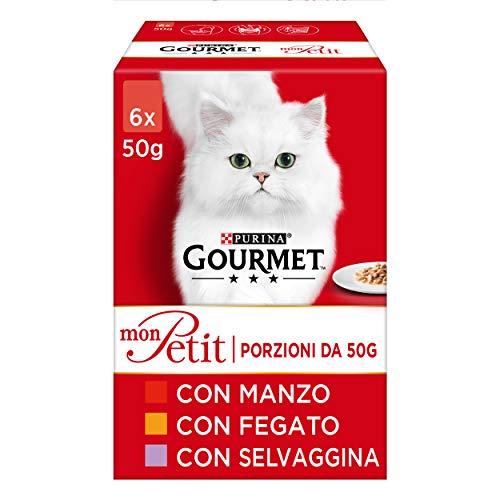 Purina Gourmet Mon Petit Feuchtigkeitsspendende Katzen-Rezepte mit Karnen, mit Rind, Lebe und Wildschwein, 48 Beutel à 50 g (8 Packungen à 6 x 50 g)