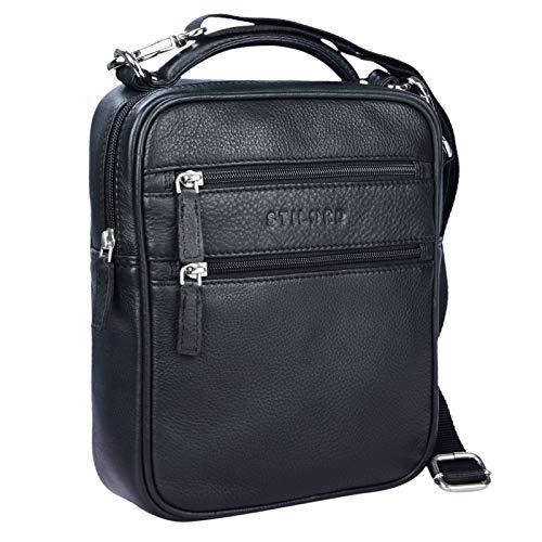 STILORD 'Mats' Borsello uomo in pelle vintage Piccola borsa a tracolla per Tablet 9,7 pollici Borsetta A5 in cuoio, Colore:nero