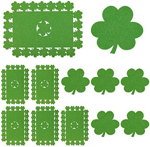 Whaline 12 Pack Felt Shamrock Table Place Mats and Coaster Irish Lucky Clover Design Mat Set product image