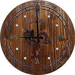 556 Gear High Low Tide Design Sea Monster Nautical Wall Clock Classic Walnut 18 inch Wall Clock