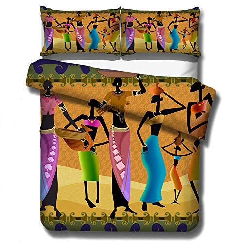 Evvaceo Juego de cama infantil 3 piezas funda nórdica retro tribal mujeres 135 cm x 200 cm con 2 fundas de almohada 3D (individual)