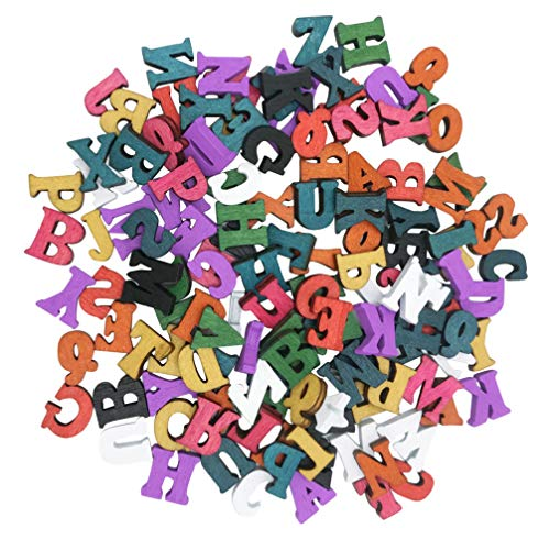 Healifty 100 Piezas Pequeñas Letras Del Alfabeto de Madera Letras de Artesanía de Madera Rebanadas de Madera Herramientas Educativas para Scrapbooking Diy Craft 15Mm