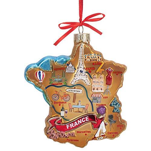 Kurt Adler Adorno de cristal con mapa de Francia de 4 3/4 pulgadas