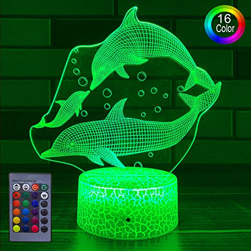 HLLKYYLF Kids Dolphin Gifts Dolphin Decoration Dolphin Nightlight 16 Color Changing Kids Lamp with Touch and Remote Control Dolphin Toys Light as Gift Idea for Home Decor or Birthday Gifts fo(dolphin)