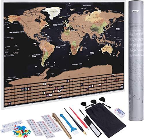 KAZOKU | Mappa del Mondo da Grattare, Colorata da Parete, Perfetta per Viaggiatori e Esploratori [82,5 x 59,4 cm Include Set Adesivi e Strumenti di Graffiatura]